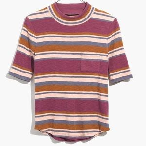 Madewell Shirttail Tee in Stripe Plum Size XXL